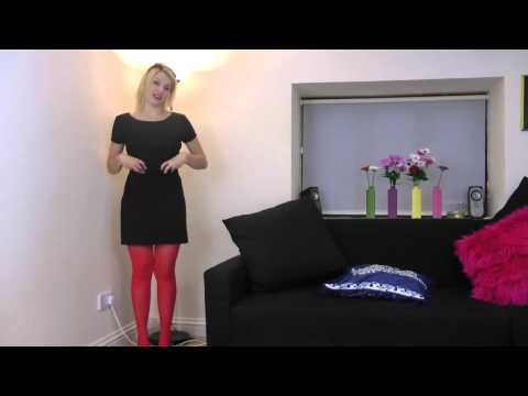 Alicia wears Jonathan Aston scarlet polka dot tights