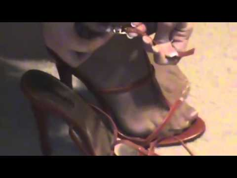 Red sexy strappy high heels modeled by the one–Mrs S