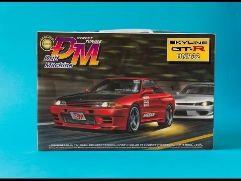 Aoshima 1/24 Nissan Skyline R32 GT-R Drift Machine Model Kit Unboxing And Review