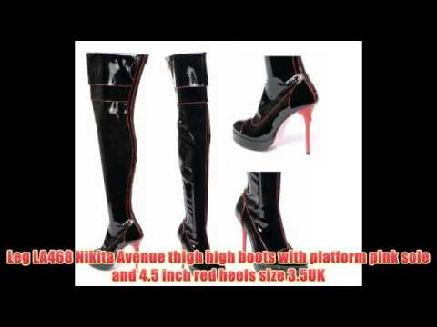 Leg LA468 Nikita Avenue thigh high boots with platform pink sole and 4.5 inch red heels size