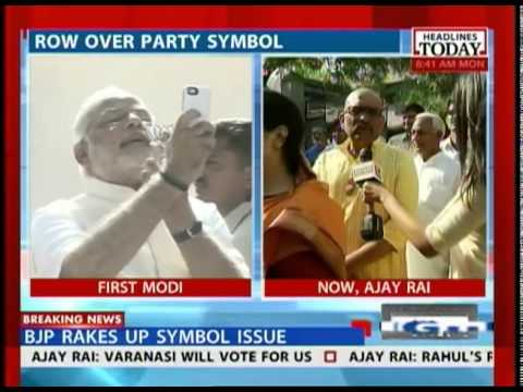 Row about Ajay Rai sporting party symbol at polling booth