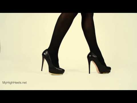 Stiletto high heels and stockings walking 4