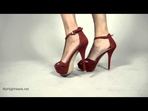 Red stiletto sandals high heels shoes