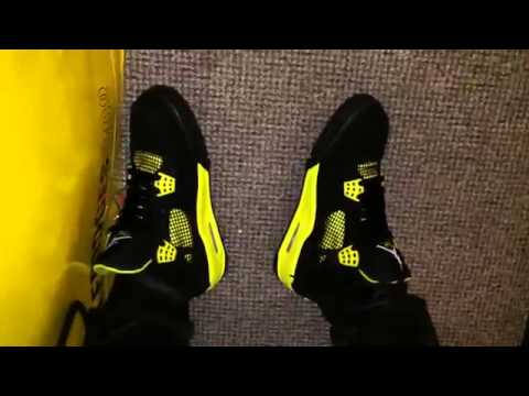 Cheap Wholesale Jordan 4 Super Perfect  Thunder  on feet