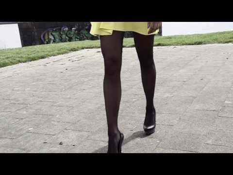 High heels stiletto shoes walking outdoors