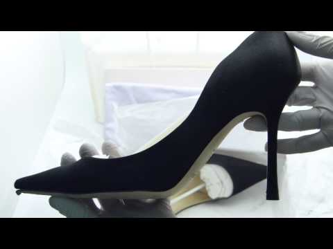 Jimmy Choo Empire Black Satin Video Toomanyshoes