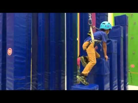 Indoor rock climbing for kids at Funtopia – Sender One in Santa Ana, California
