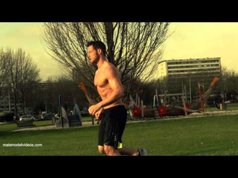 Male Model Running in Slow Motion