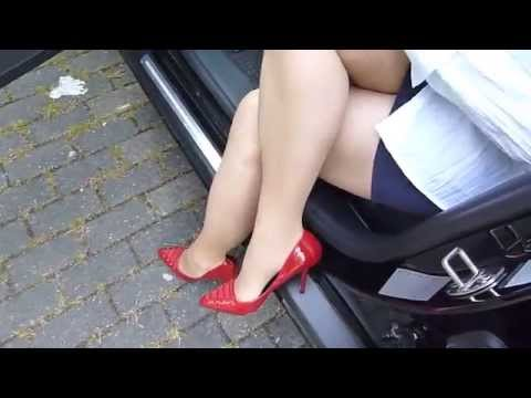 Dangling and shoeplay – Red high heels
