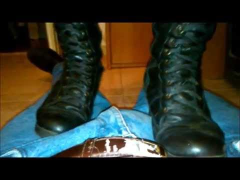 Sexy fetish ballbusting in black boots