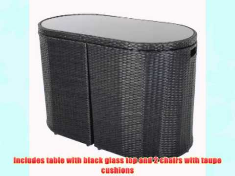 Latina Bistro Garden Glass Table Furniture Set With Two Rattan Chairs – Black