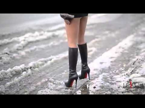 Best exhibtionist hooker spandex miniskirt  in C.louboutin boots and chinchilla fur jacke