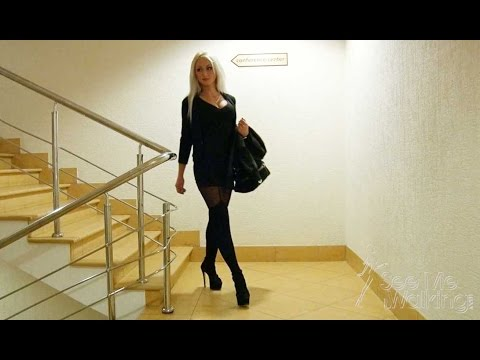 "Candid Camera Blonde wearing Stockings and High Heels in a caffee ""Candid Cocktail"" trailer"