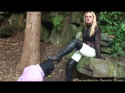 Dirty Leather OTK Boot Worship with Dominatrix Mistress Athena