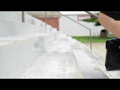 Business Woman Climbs Stairs. Stock Footage