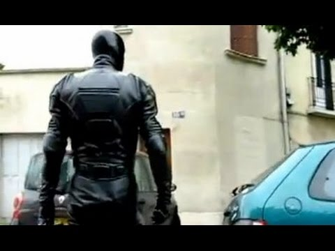 LEATHER BIKER with LATEX MASK in PUBLIC
