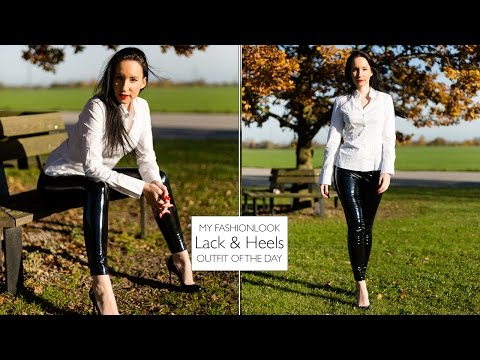 BLOUSE OUTFIT WITH VINYL LEGGINGS – Louboutins und Lackleggings – LACKHOSE LACK GLANZLEGGINGS