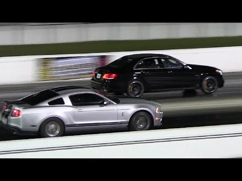 2014 E63 S Model AMG vs Shelby GT500 – 1/4 mile Drag Race Video – Camera w/ Shakes -Road Test TV