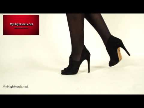 Stiletto peeptoe high heels shoes and stockings 4