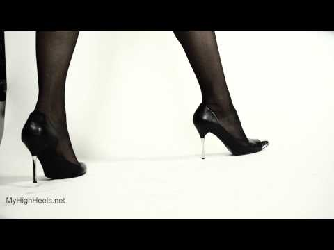 Metal finish high heels shoes and stockings 1