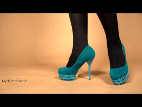 Blue stiletto platform high heels shoes and stockings 2