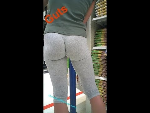 Hot babe in leggings shopping