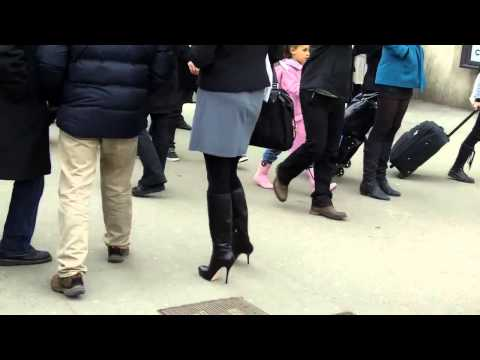 90 russian girl  High heels leather boots  Paris Fashion Week PFW  201390 russian girl  High heels l