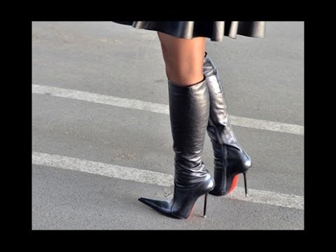 Knee high boots and black skirt