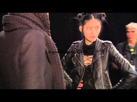Models prepare backstage before Y-3 Womens Fall 2012 coll…